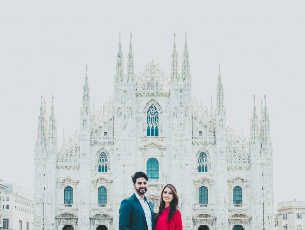 couple photographic session in Milan, Duomo