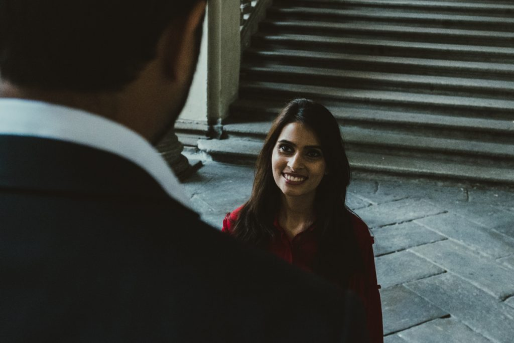 smiling couple in Brera