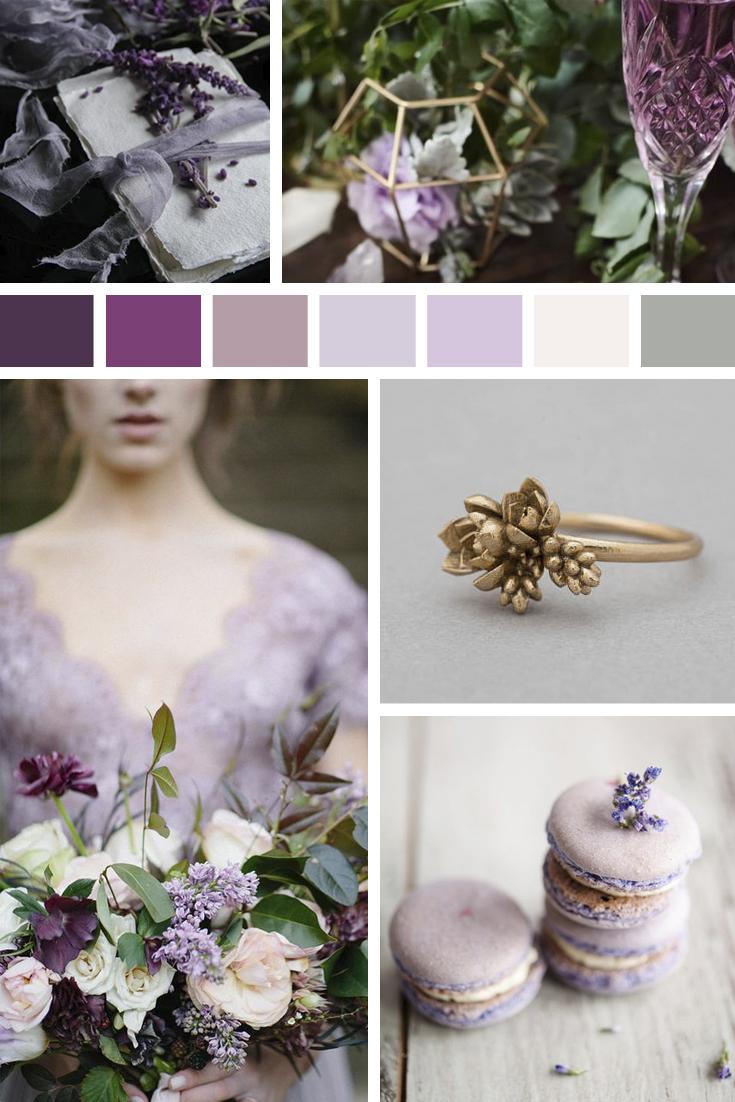 moodboard matrimonio color lavanda
